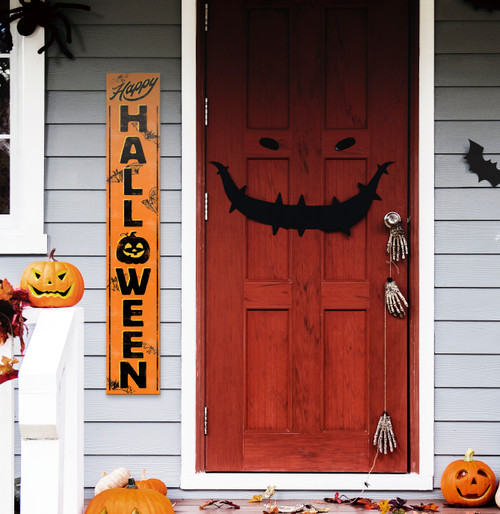 Outdoor Welcome Sign for Porch - Happy Halloween with Pumpkin - Vertical Porch Board 8x47