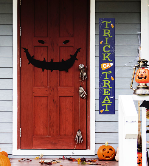 Outdoor Welcome Sign for Porch - Trick or Treat - Vertical Porch Board 8x47 Halloween Theme