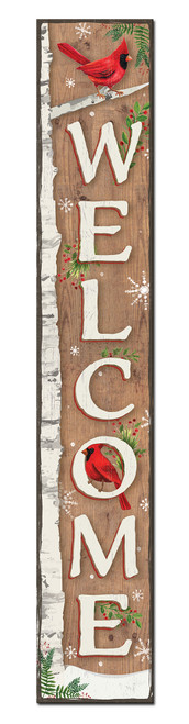 Outdoor Welcome Sign for Porch - Birch Tree with Cardinals - Vertical Porch Board 8x47 Winter Theme