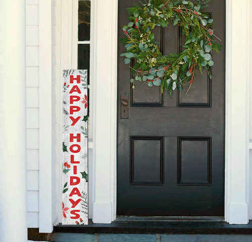 Outdoor Welcome Sign for Porch - Happy Holidays - Vertical Porch Board 8x47