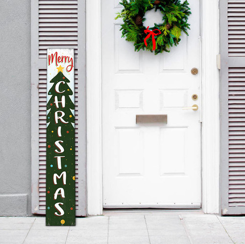 Outdoor Welcome Sign for Porch - Merry Christmas - Vertical Porch Board 8x47