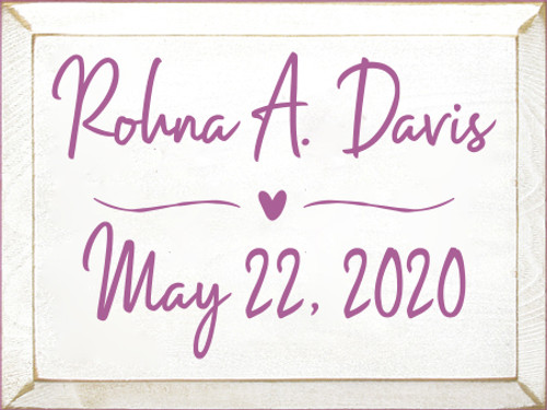 9x12 White board with Plum text  Rohna A. Davis May 22, 2020