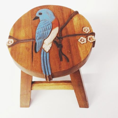 Colorful Painted Blue Bird Step Stool Hand Carved Solid Acacia Sturdy Wood Stool For Children or Adults 10x10.5x10