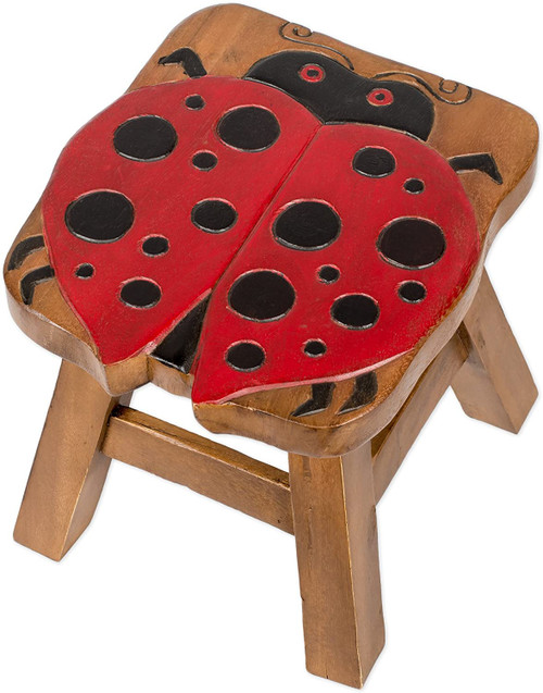 Red Painted Lucky Lady Bug Step Stool Hand Carved Solid Acacia Sturdy Wood Stool For Children or Adults 10x10.5x10