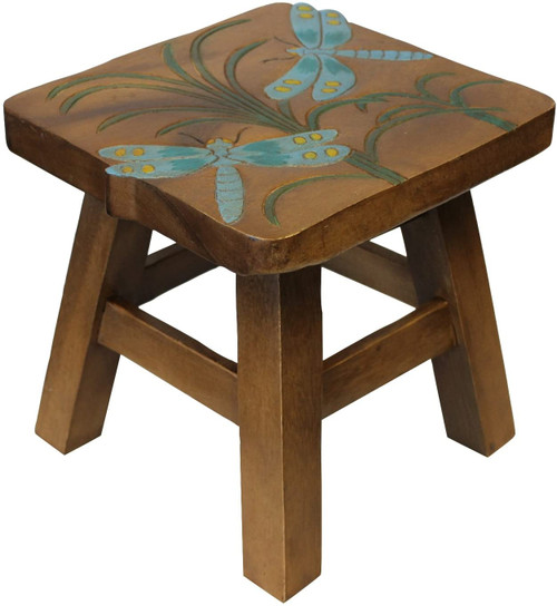 Dragonfly Step Stool Hand Carved Solid Acacia Sturdy Wood Stool For Children or Adults 10x10.5x10