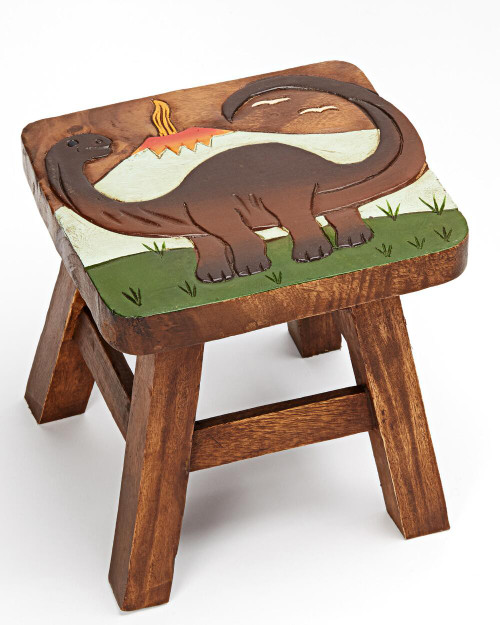 Brontosaurus Dinosaur Step Stool Hand Carved Solid Acacia Sturdy Wood Stool For Children or Adults 10x10.5x10