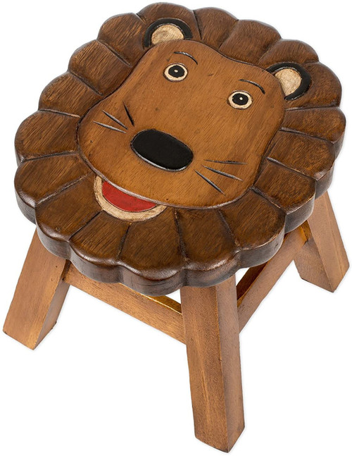Lion Step Stool Hand Carved Solid Acacia Sturdy Wood Stool For Children or Adults 10x10.5x10