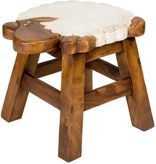 Sheep Step Stool Hand Carved Solid Acacia Sturdy Wood Stool For Children or Adults 10x10.5x10