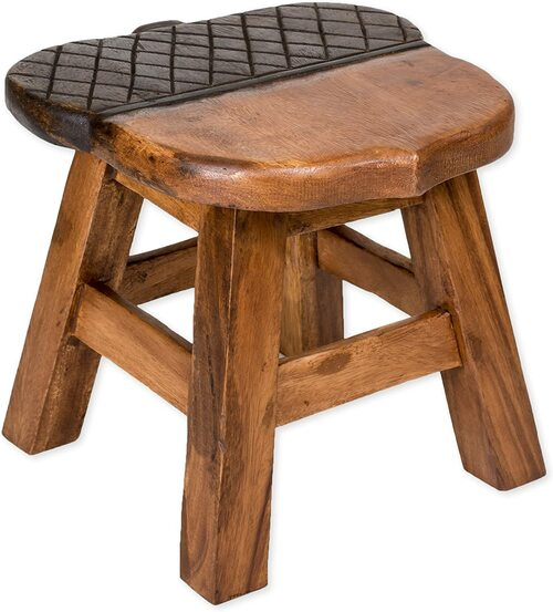 Acorn Step Stool Hand Carved Solid Acacia Sturdy Wood Stool For Children or Adults 10x10.5x10