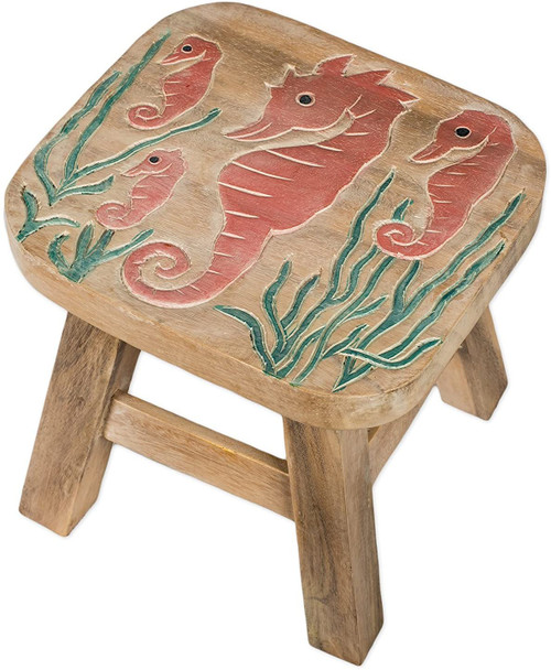Seahorses Step Stool Hand Carved Solid Acacia Sturdy Wood Stool For Children or Adults 10x10.5x10