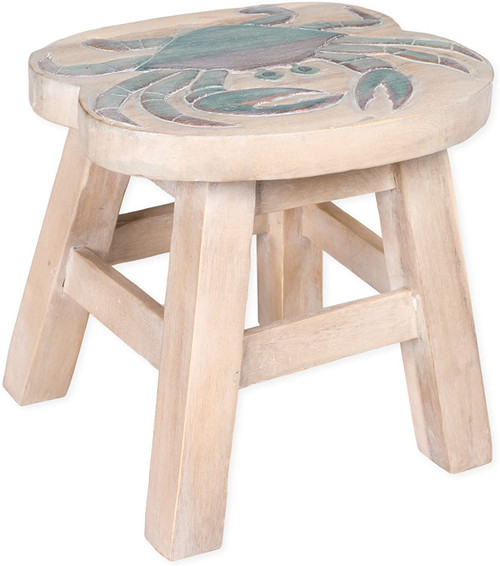 Blue Crab Step Stool Hand Carved Solid Acacia Sturdy Wood Stool For Children or Adults 10x10.5x10
