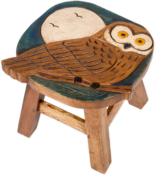 Owl and the Moon Step Stool Hand Carved Solid Acacia Sturdy Wood Stool For Children or Adults 10x10.5x10