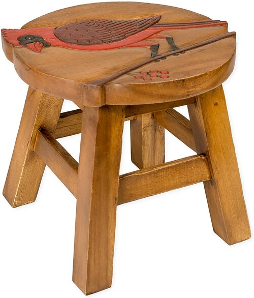 Cardinal Step Stool Hand Carved Solid Acacia Sturdy Wood Stool For Children or Adults 10x10.5x10