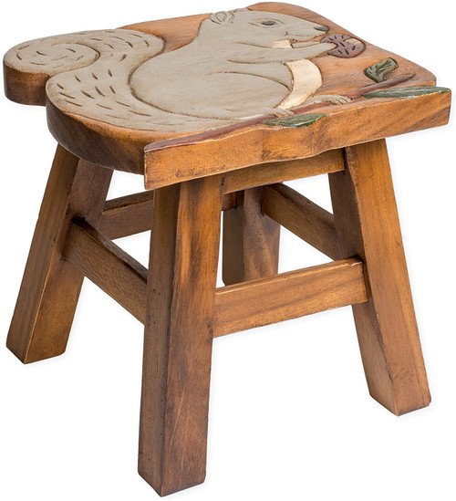 Squirrel Step Stool Hand Carved Solid Acacia Sturdy Wood Stool For Children or Adults 10x10.5x10