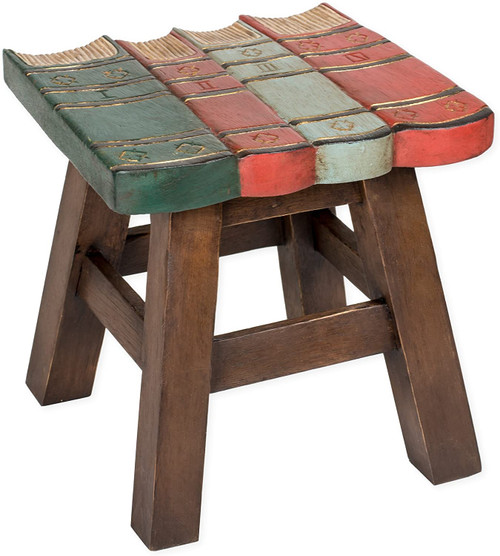 Books Step Stool Hand Carved Solid Acacia Sturdy Wood Stool For Children or Adults 10x10.5x10