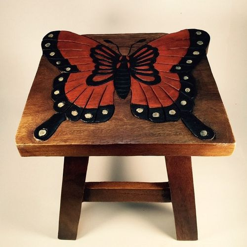Monarch Butterfly Step Stool Hand Carved Solid Acacia Sturdy Wood Stool For Children or Adults 10x10.5x10