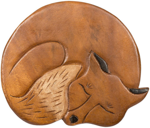 Sleeping Fox Step Stool Hand Carved Solid Acacia Sturdy Wood Stool For Children or Adults 10x10.5x10