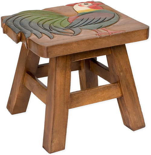 Rooster Step Stool Hand Carved Solid Acacia Sturdy Wood Stool For Children or Adults 10x10.5x10