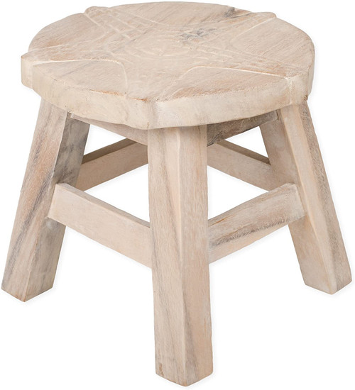 Starfish Step Stool Hand Carved Solid Acacia Sturdy Wood Stool For Children or Adults 10x10.5x10