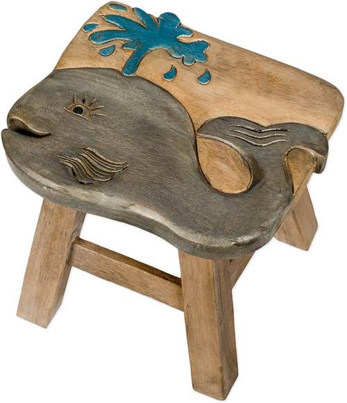 Whale Step Stool Hand Carved Solid Acacia Sturdy Wood Stool For Children or Adults 10x10.5x10