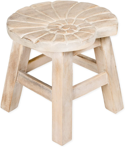 Nautilus Shell Step Stool Hand Carved Solid Acacia Sturdy Wood Stool For Children or Adults 10x10.5x10