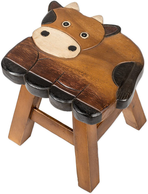 Cow Step Stool Hand Carved Solid Acacia Sturdy Wood Stool For Children or Adults 10x10.5x10