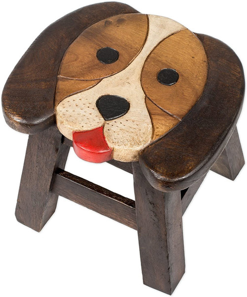 Puppy Dog Step Stool Hand Carved Solid Acacia Sturdy Wood Stool For Children or Adults 10x10.5x10