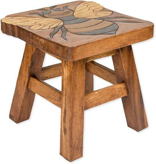 Bumble Bee Step Stool Hand Carved Solid Acacia Sturdy Wood Stool For Children or Adults 10x10.5x10