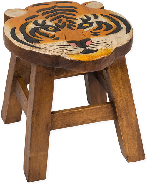 Tiger Step Stool Hand Carved Solid Acacia Sturdy Wood Stool For Children or Adults 10x10.5x10