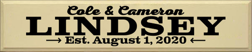 10x48 Cream board with Black text  Cole & Cameron LINDSEY Est. August 1, 2020