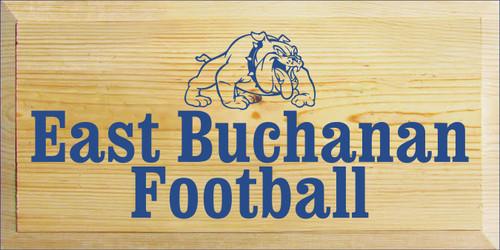 9x18 Poly board with Royal text  East Buchanan Football
