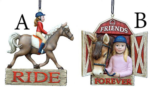 Resin Girl Riding Horse Ornament 3.5in.