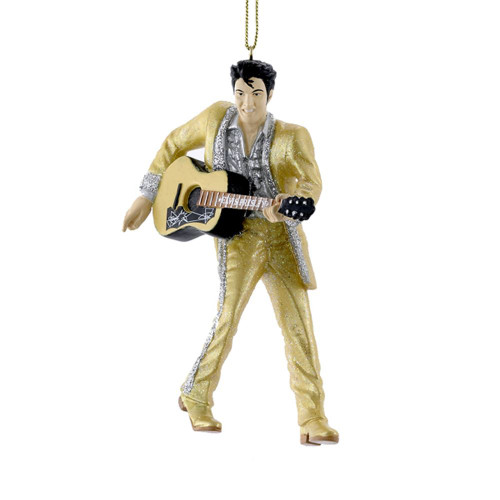 Resin Gold Suit Elvis With Guitar 4.5in.