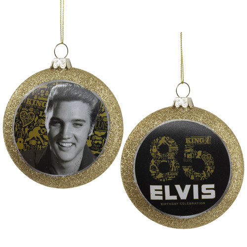Front and Back - Elvis 85th Birthday Glass Disc Ornament 3in.
