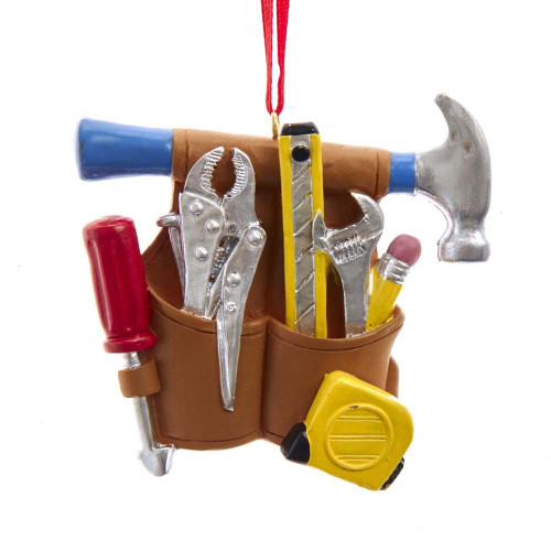 Resin Hammer & Tool Belt Ornament 3in.