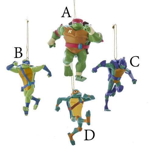 Donatello, Leonardo, Michelangelo, and Raphael Ninja Turtles Blow Mold Ornament 3.75in.
