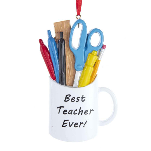 Best Teacher Ever! School Supplies Mug Ornament 4.25in.