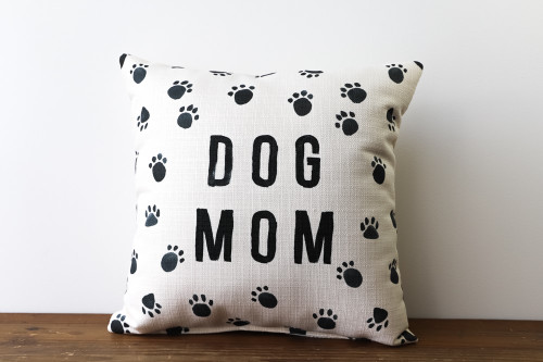 Dog Mom with Paw Prints Square Pillow