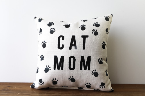 Cat Mom with Paw Prints Square Pillow