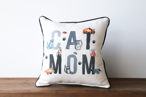 Cat Mom with Various Adorable Cats Square Pillow