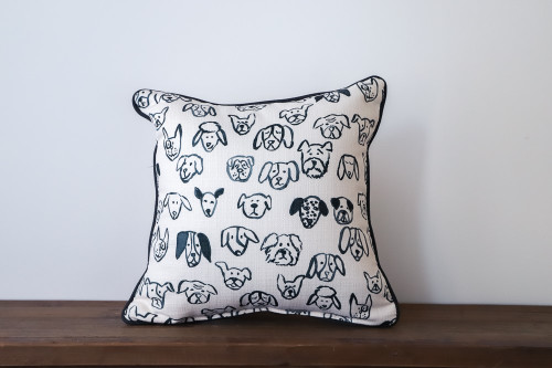 Black and White Dog Heads Pattern Square Pillow