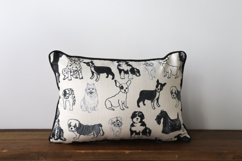 Black and White Adorable Dog Pattern Rectangle Pillow