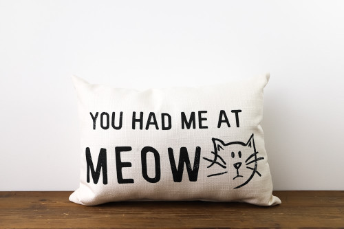 You Had Me At Meow with Adorable Cat Rectangle Pillow