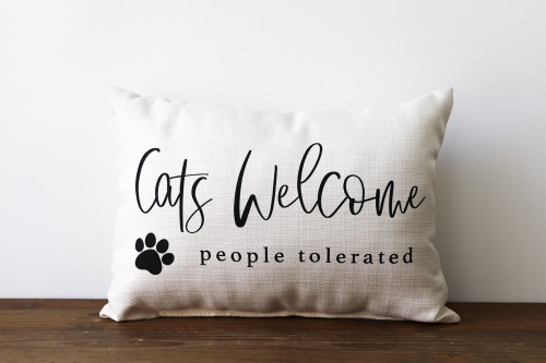 Cats Welcome, People Tolerated Rectangle Pillow
