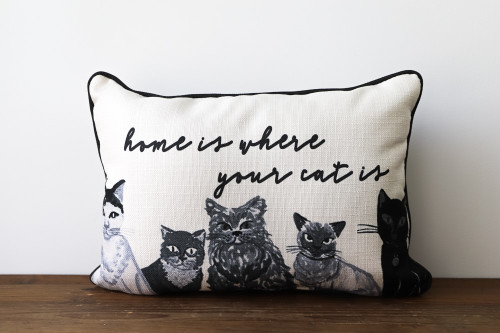 Home Is Where You Cat Is With Various Adorable Cats Rectangle Pillow