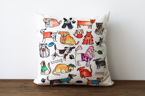 Colorful Various Adorable Dogs Rectangle Pillow