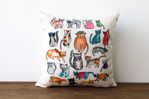 Colorful Various Adorable Cats Square Pillow