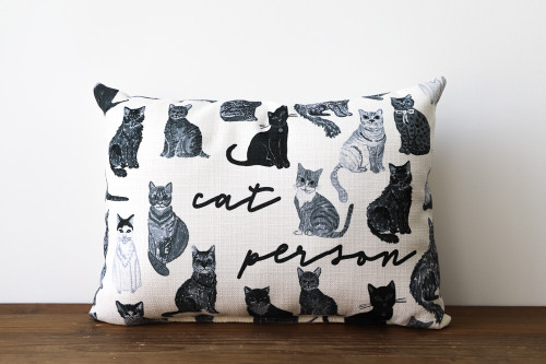 Cat Person With Various Adorable Cats Rectangle Pillow