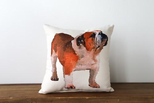 Watercolor Style English Bulldog Square Pillow