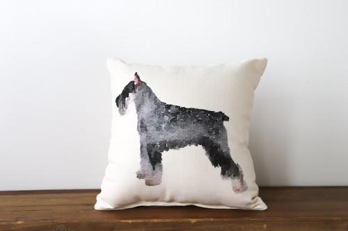 Watercolor Style Schnauzer Dog Square Pillow